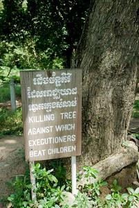 A sign in Killing Fields in Phnom Penh, Cambodia