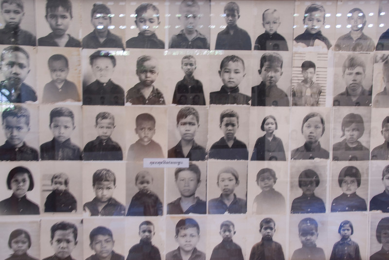 Photos of Victims on display at Toule Seng Prison in Phnom Penh, Cambodia