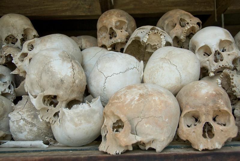 Shot of skulls in Killing Fields in Phnom Penh, Cambodia