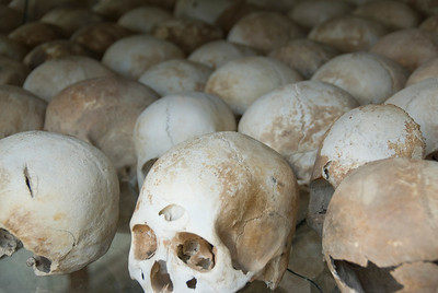 Another perspective of the skulls at Killing Fields in Phnom Penh