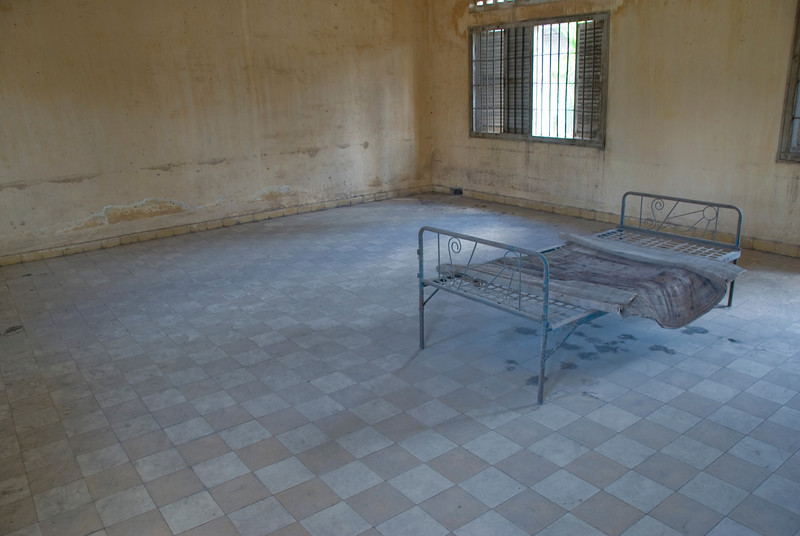 Solitary prison bed inside a cell in Toule Seng Prison