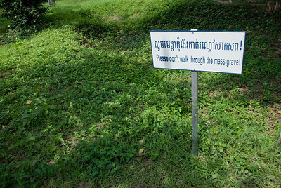 Sign near the mass grave in Killing Fields of Phnom Penh