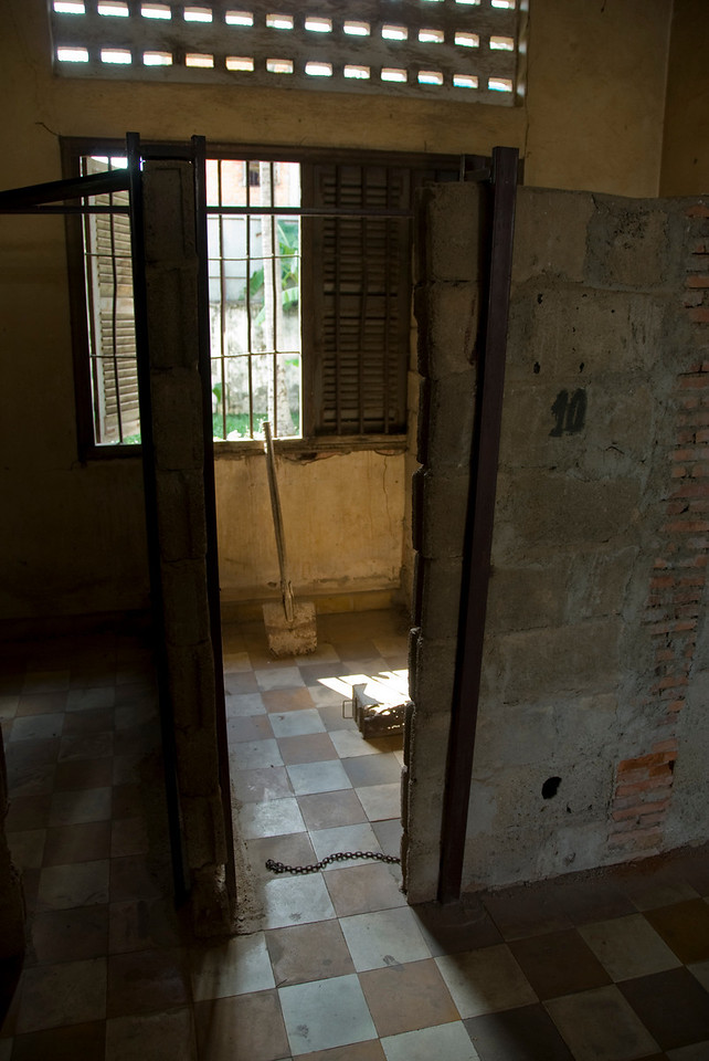 An empty prison cell in Building B of Toule Seng Prison in Phnom Penh