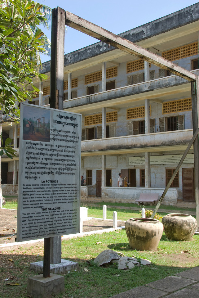 Closer look at gallows outside Toule Seng Prison in Phnom Penh, Cambodia