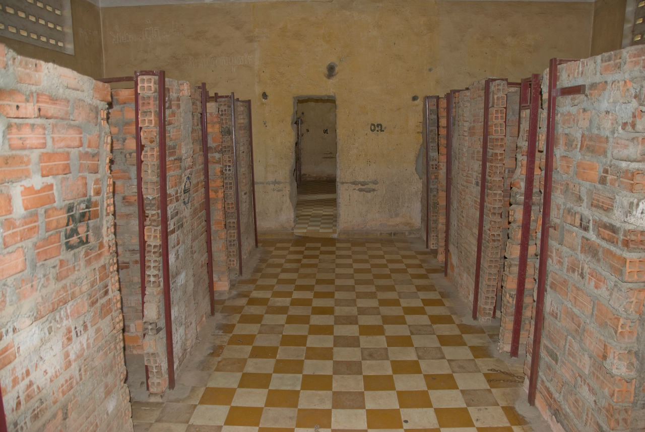Shot of the cells inside Building B in Toule Seng Prison, Phnom Penh, Cambodia