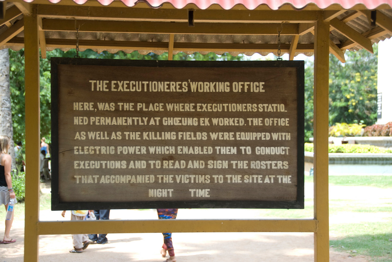 Sign outside the Executioner's Working Office in Killing Fields