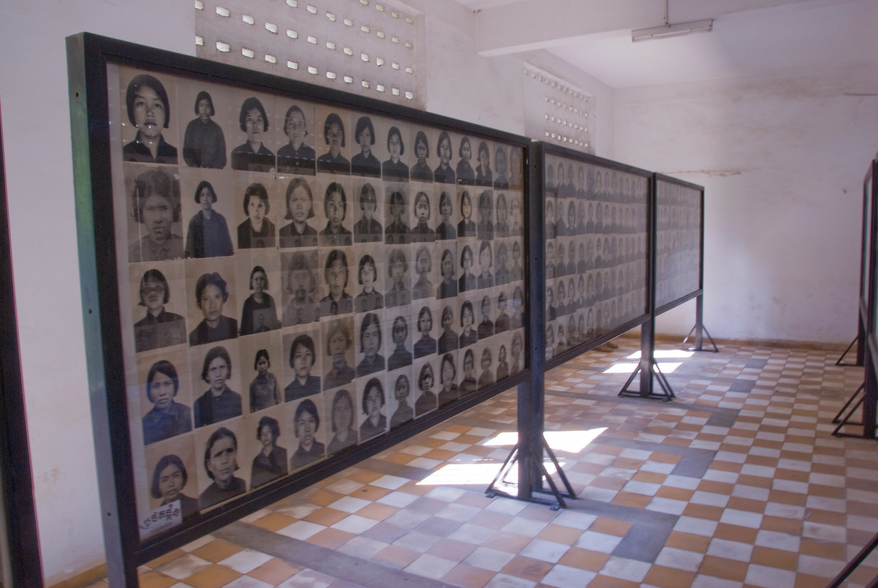 Photo exhibit of victims at Toule Seng Prison in Phnom Penh, Cambodia