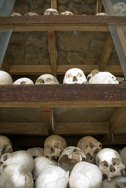 Skulls on shelves at Killing Fields in Phnom Penh, Cambodia