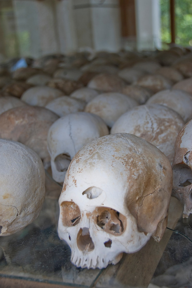 Rows of skulls at the Killing Fields in Phnom Penh, Cambodia
