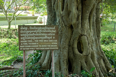 Sign beside the 'Magic Tree' in Killing Fields of Phnom Penh