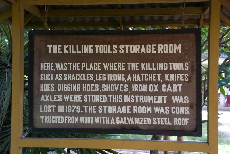 Sign of the Killing Tools Storage Room in the Killing Fields in Phnom Penh