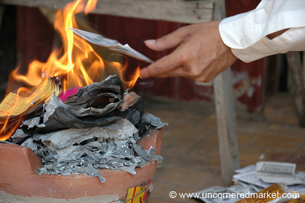 Burning Fake Money - Phnom Penh, Cambodia