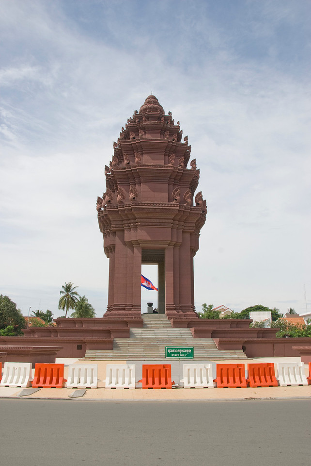 Shot of the Democracy Monument in Phnom Penh, Cambodia
