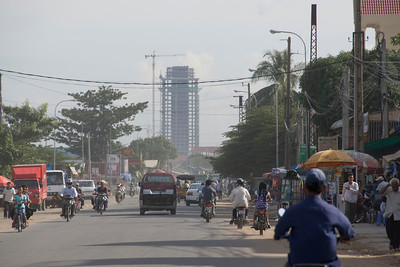 Shot of a construction site in Phnom Penh, Cambodia from afar