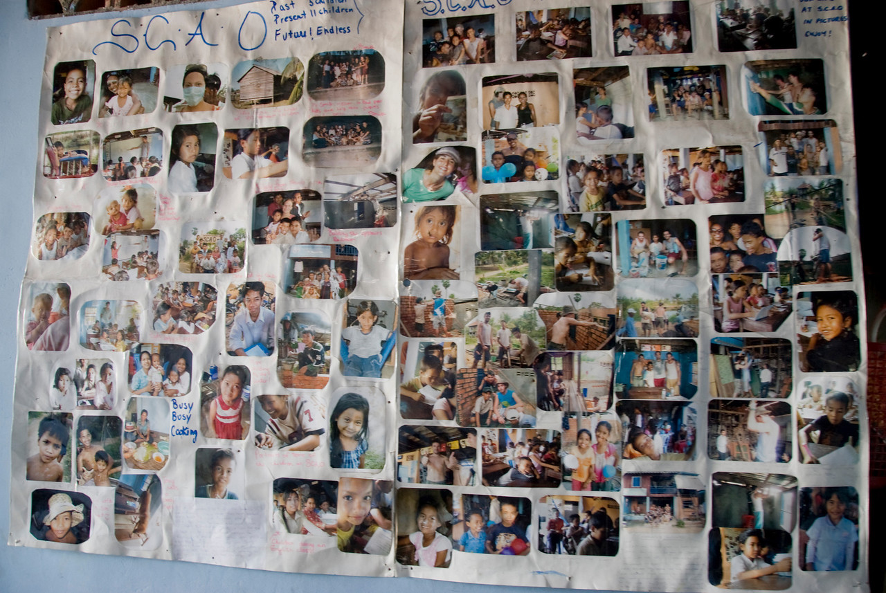 Collage of photos of orphans in Phnom Penh, Cambodia