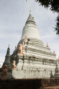 Close-up view of Wat Phnom in Phnom Penh, Cambodia