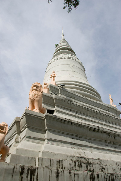 Shot of the Wat Phnom tower from below in Phnom Penh, Cambodia