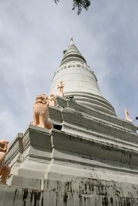 Shot of the Wat Phnom tower from below in Phnom Penh, Cambodia