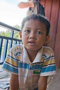 Close-up shot of an orphan boy in Phnom Penh, Cambodia