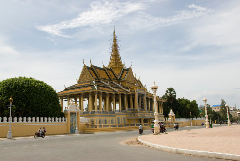 Shot of the Royal Palace from afar in Phnom Penh, Cambodia