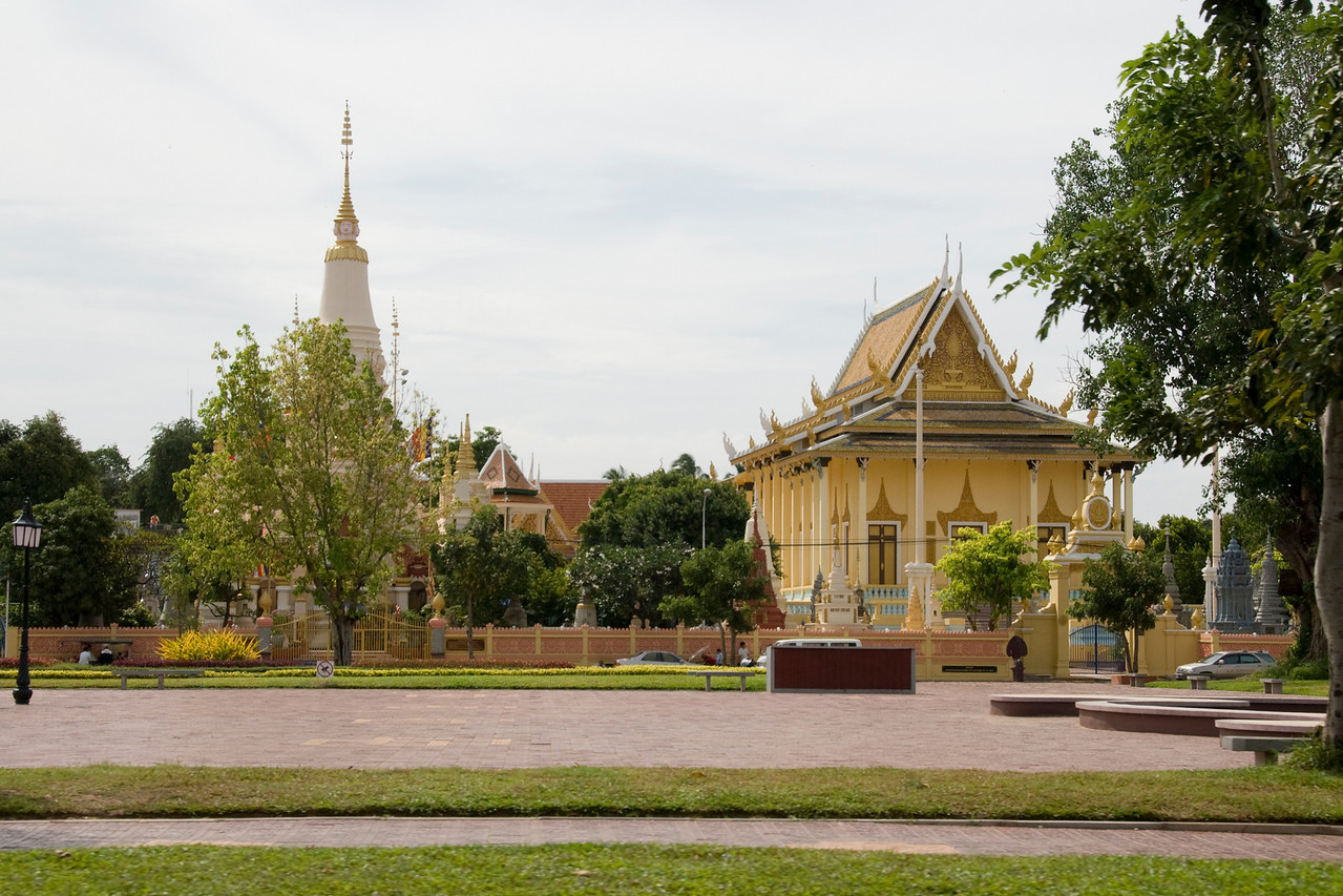 Shot of the Royal Palace facade in Phnom Penh, Cambodia
