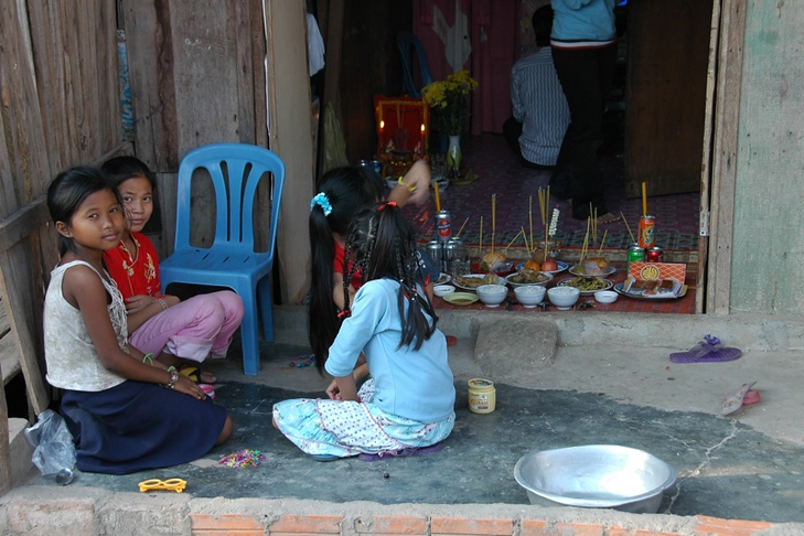 Children Preparing for the Chinese New Year Celebrations - Phnom Penh, Cambodia