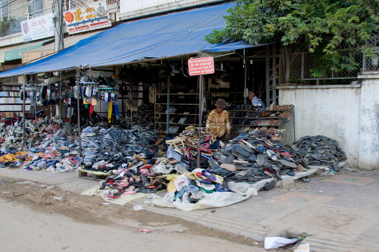 Shoe store along the streets of Phnom Penh, Cambodia