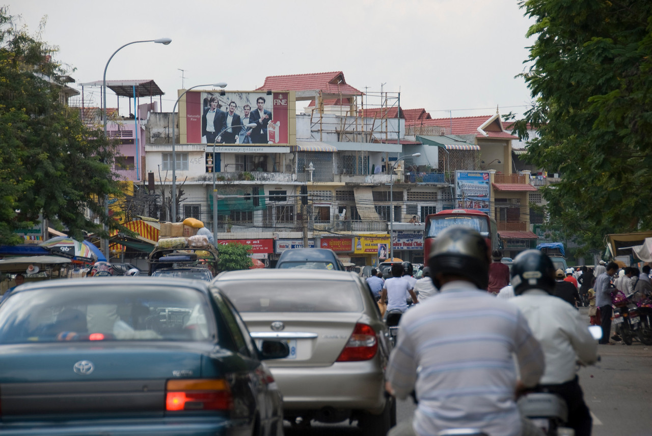 Shot of traffic scene in Phnom Penh, Cambodia