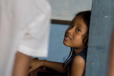 Close-up shot of an orphan girl in Phnom Penh, Cambodia
