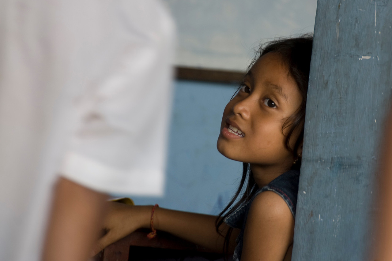 Close-up shot of an orphan girl in Phnom Penh, Cambodia