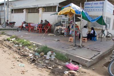 Street corner with store in Phnom Penh, Cambodia