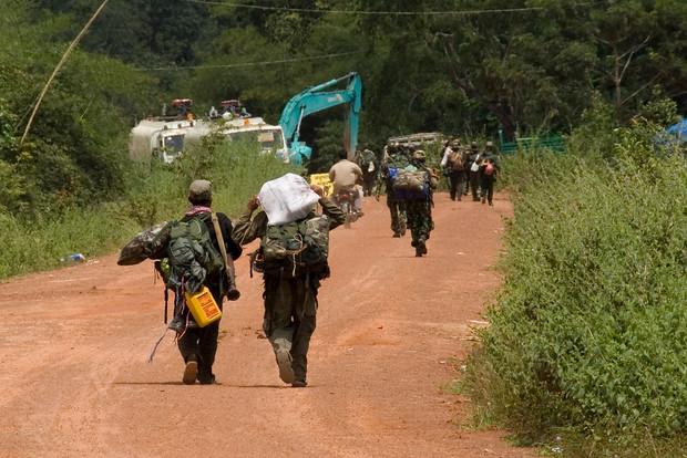 Soldiers Walking with gear - Preah Vihear, Cambodia