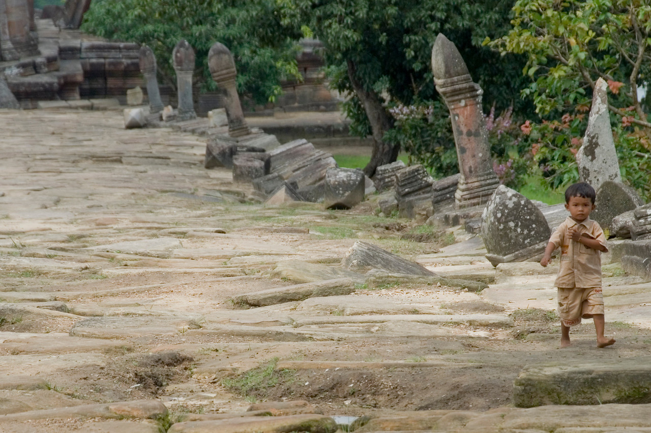 Another shot of barefoot child inside Preah Vihear Temple