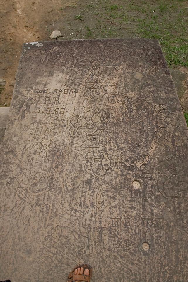 Stone graffitti in Preah Vihear Temple, Cambodia