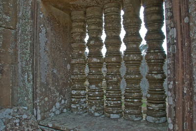 Stone windows at the Preah Vihear Temple in Cambodia