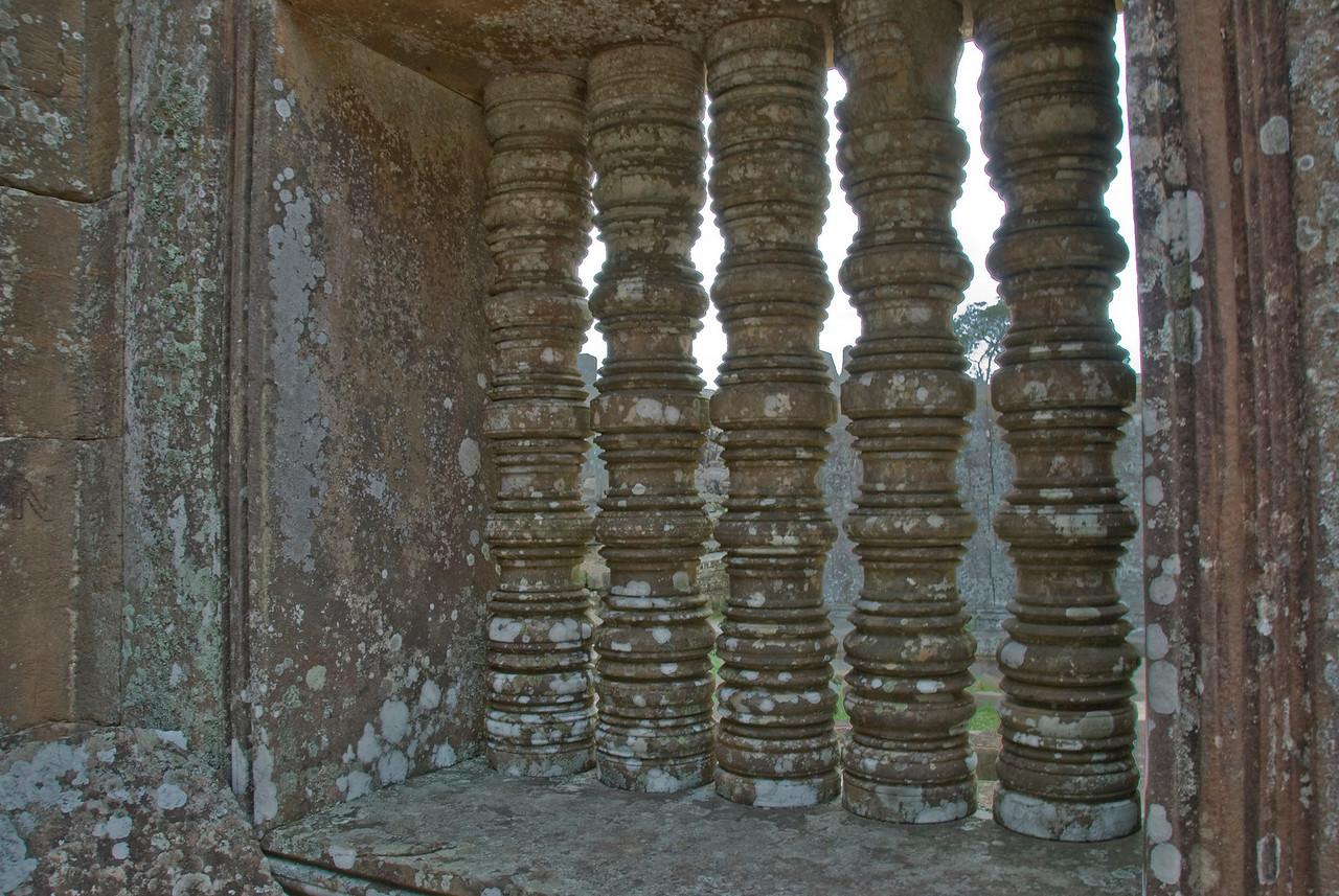 Stone windows at the Preah Vihear Temple in Cambodia