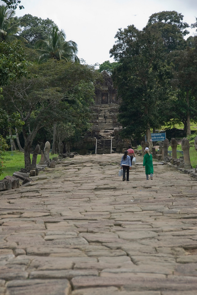 Locals walking on path in Middle Ruins of Preah Vihear Temple