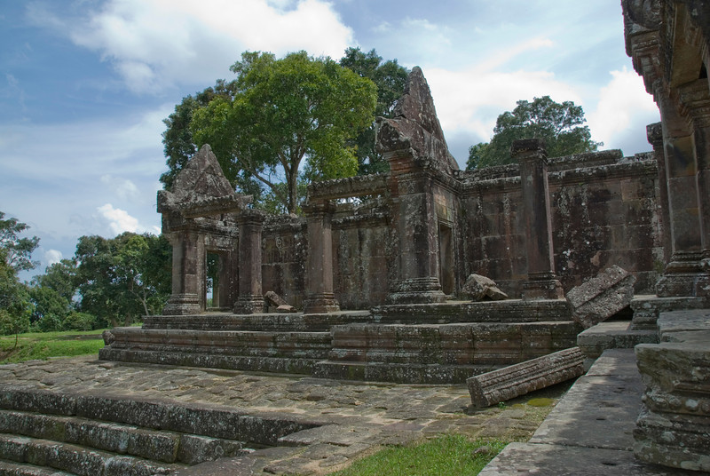 A wing in the Middle Ruins of Preah Vihear Temple in Cambodia