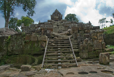 Old wooden staircase in Preah Vihear Temple