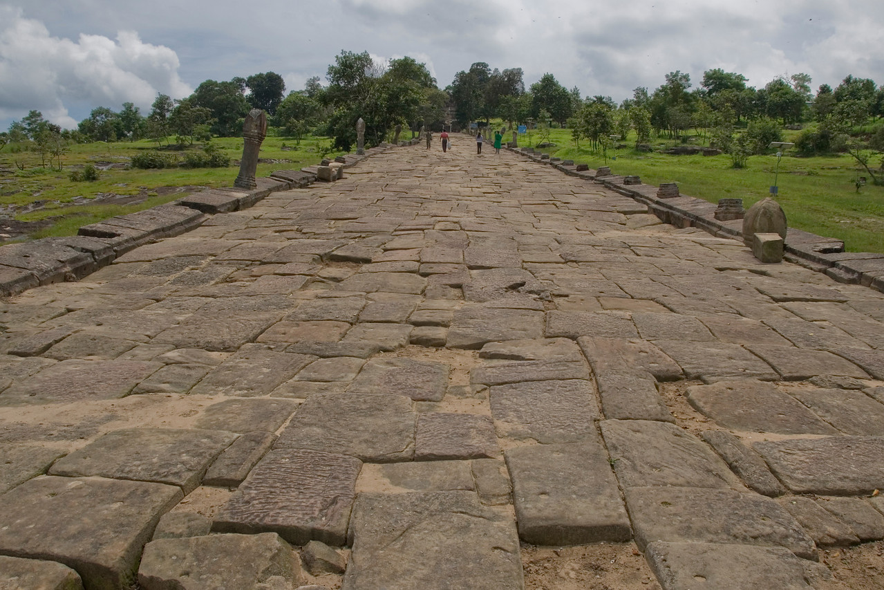 Stone path inside the Preah Vihear Temple in Cambodia