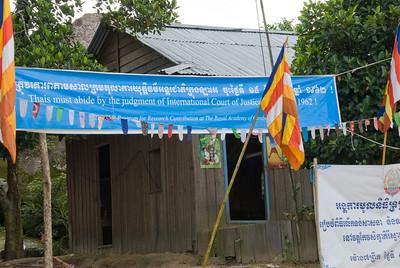 Propaganda sign on a house outside Preah Vihear Temple