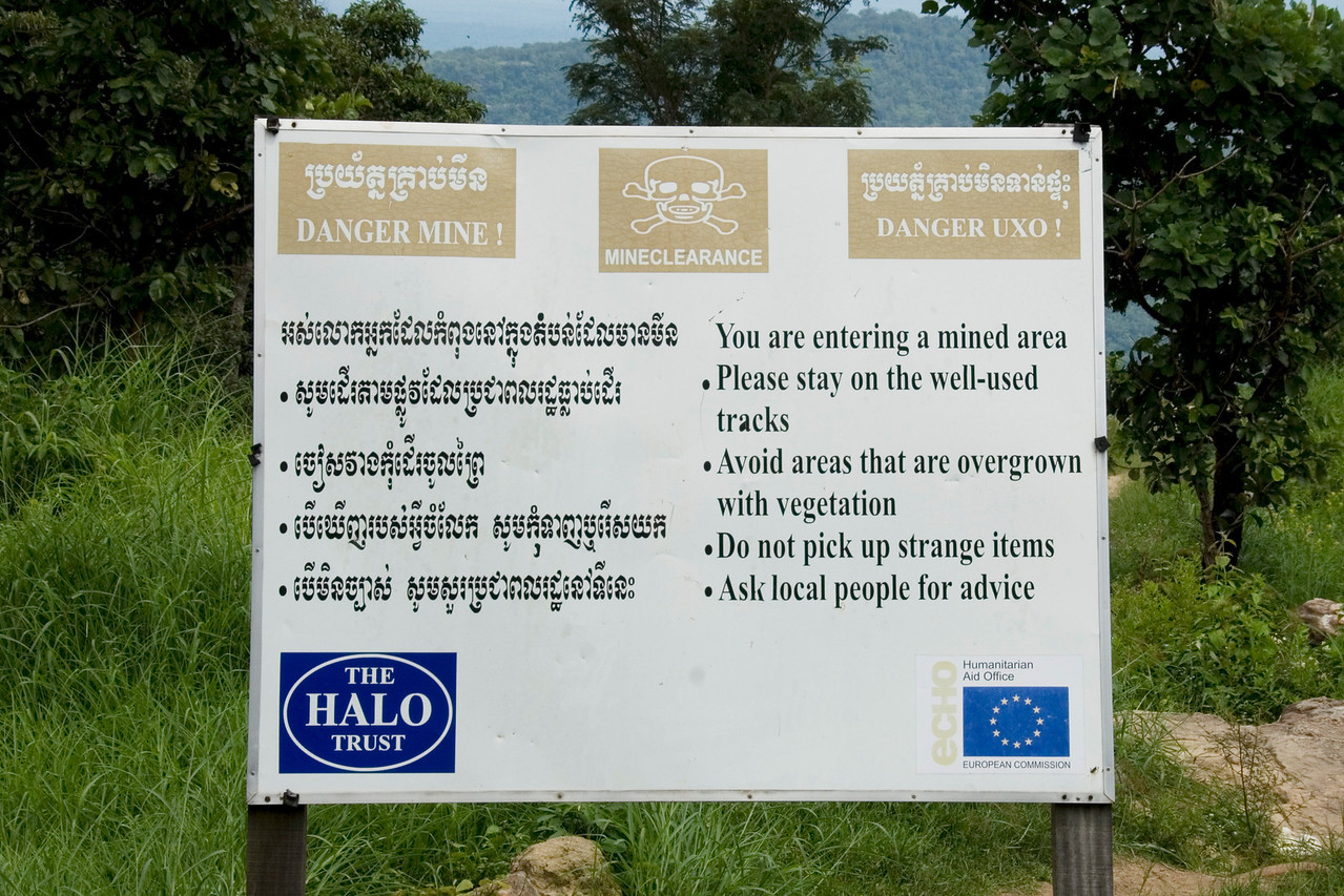 Land Mine Warning Sign at Preah Vihear Temple, Cambodia