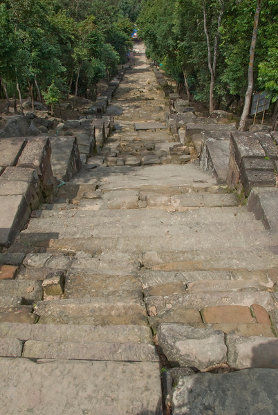 Looking down the stairs to the Thai side of border in Preah Vihear Temple