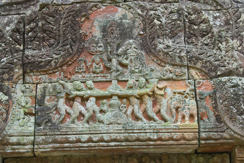 Close-up shot of stone work and art at Preah Vihear Temple