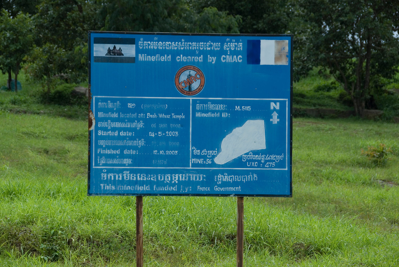 Mine field clearance sign in Preah Vihear Temple, Cambodia