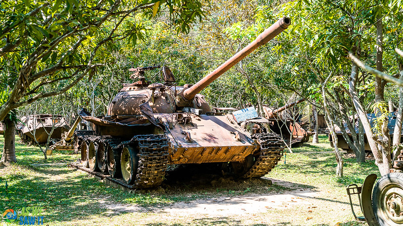 rusty Russian tank in the outdoor Siem Reap war museum