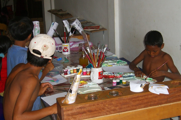 Street Children Working on a Project - Siem Reap, Cambodia