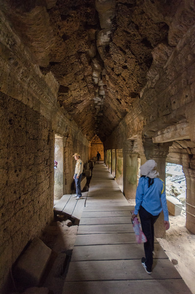 Inside a corridor at Ta Prohm.