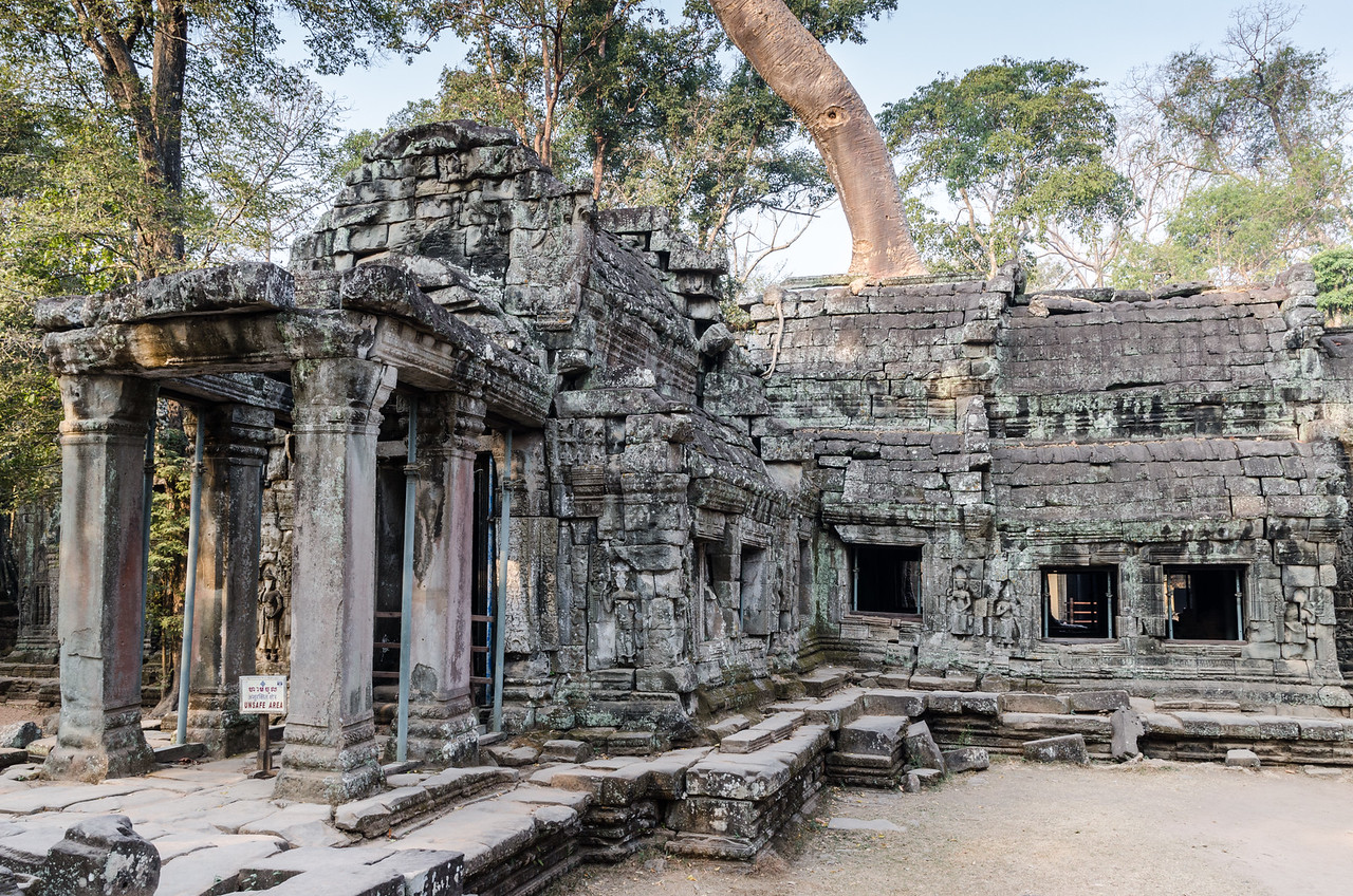 "Restoration and conservation has only begun in Ta Prohm in the 21st century. Consequently, it is in much the same condition as when it was ""discovered."""