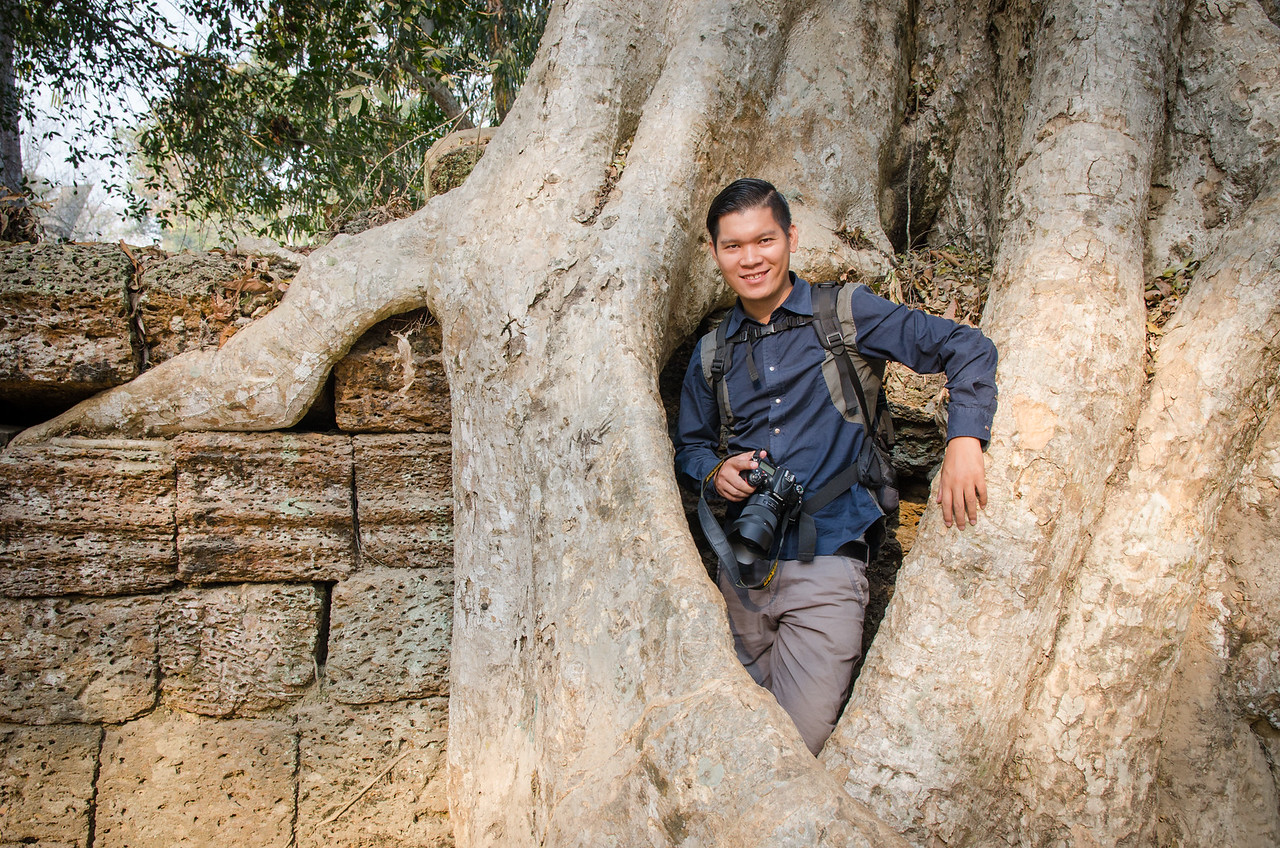 A huge tree on top of a wall at Ta Prohm.